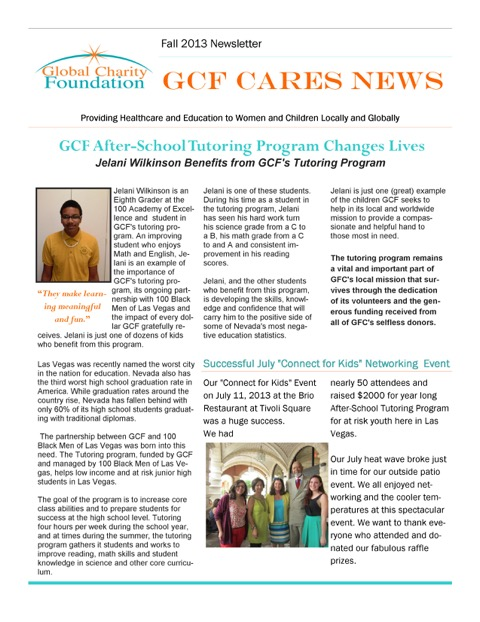 Fall 2013 Newletter pg 1
